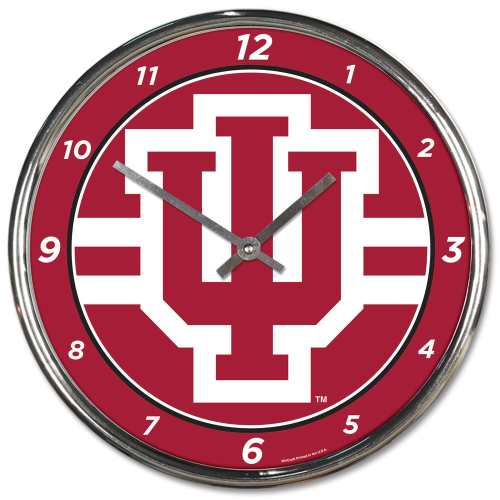 Indiana Hoosiers Round Chrome Wall Clock - Wincraft