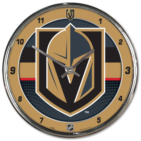 Vegas Golden Knights Clock Round Wall Style Chrome - Wincraft