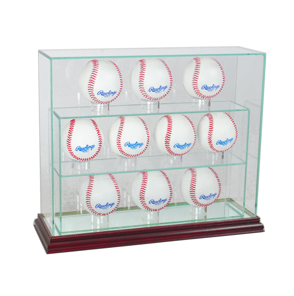 10 Baseball Upright Display Case with Cherry Moulding