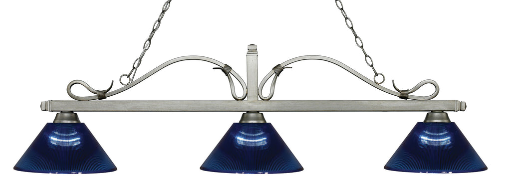Z-Lite 114-3AS-ARDB Melrose 3 Light Billiard Light with Antique Silver Steel Frame