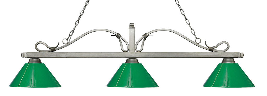 Z-Lite 114-3AS-PGR Melrose 3 Light Billiard Light with Antique Silver Steel Frame