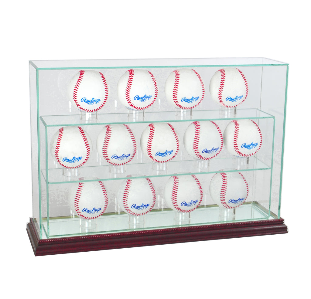 13 Baseball Upright Display Case with Cherry Moulding