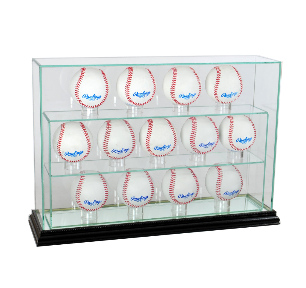 13 Baseball Upright Display Case with Black Moulding