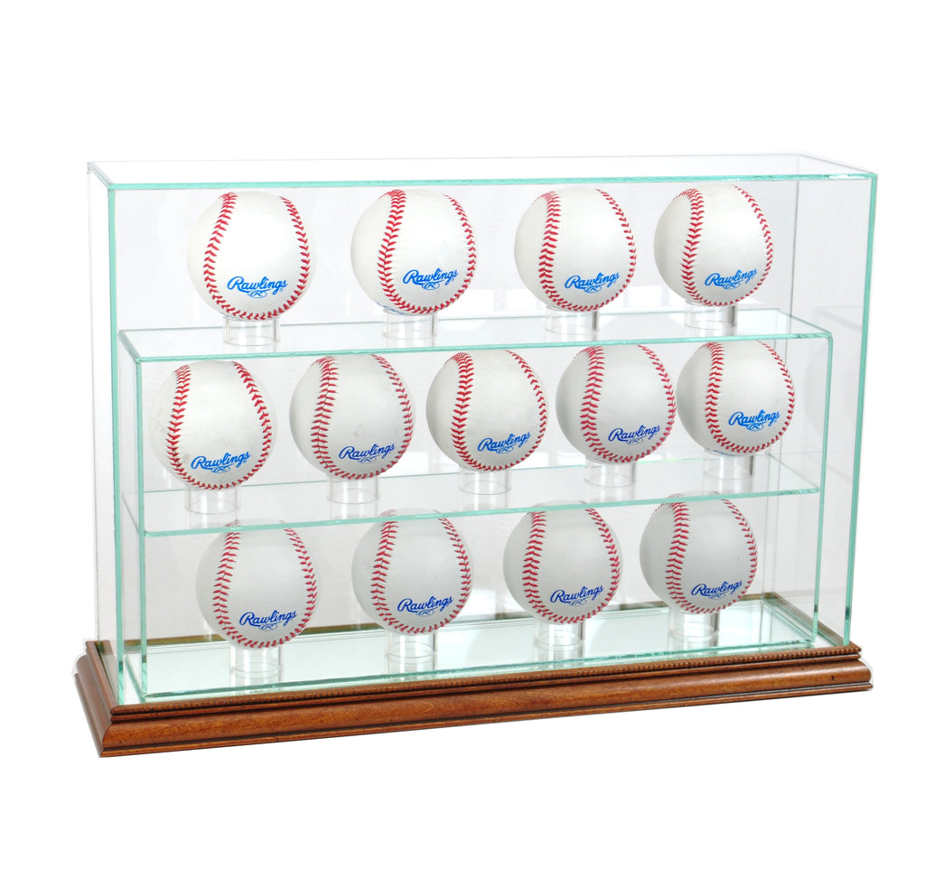 13 Baseball Upright Display Case with Walnut Moulding