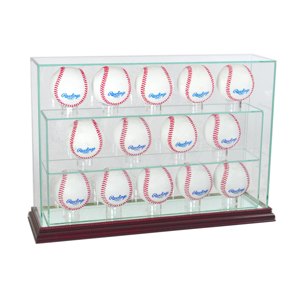 14 Baseball Upright Display Case with Cherry Moulding