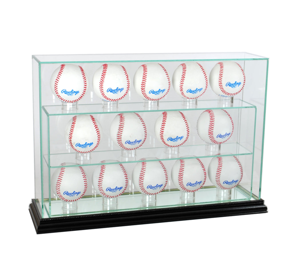 14 Baseball Upright Display Case with Black Moulding