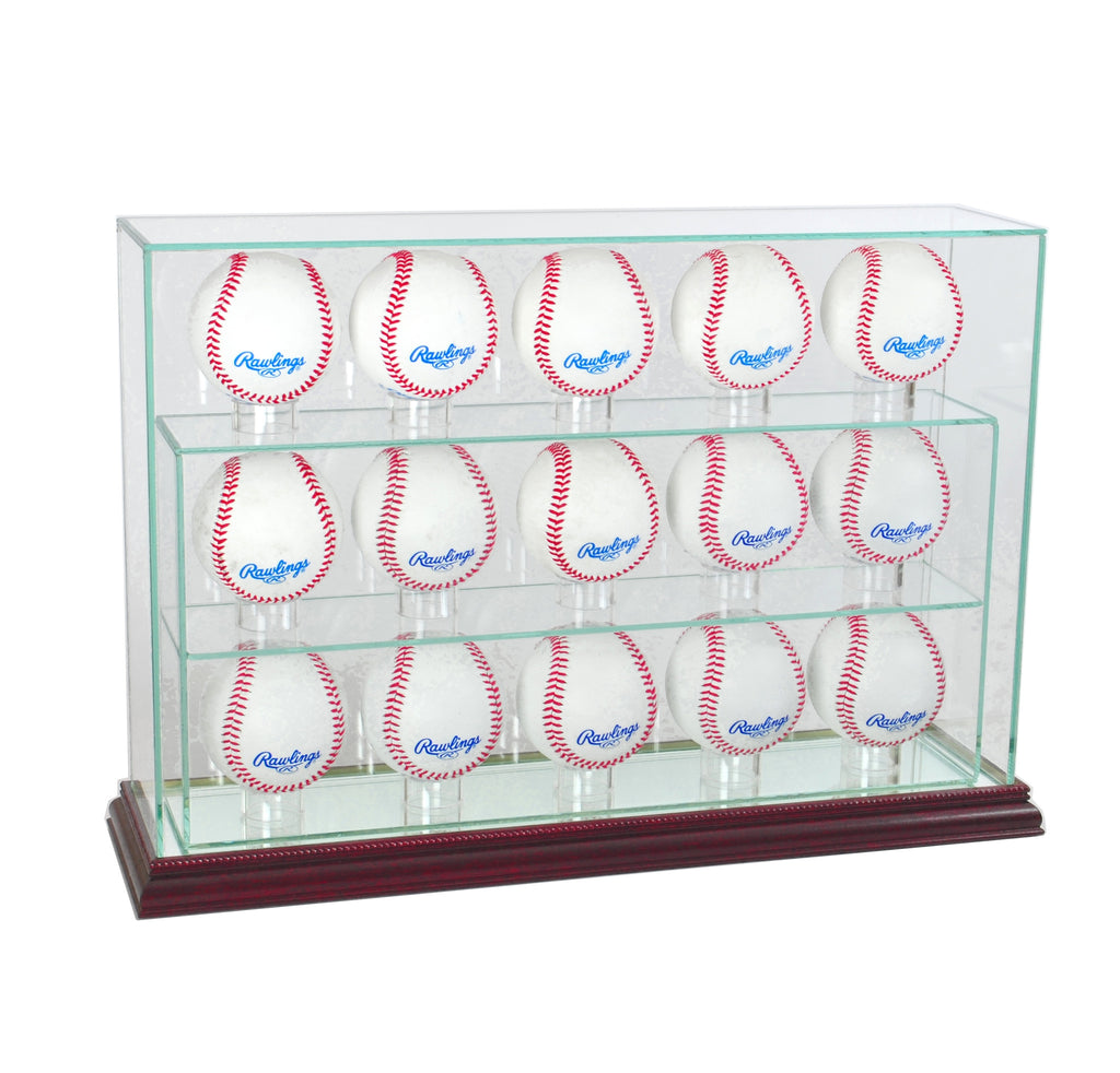 15 Baseball Upright Display Case with Cherry Moulding