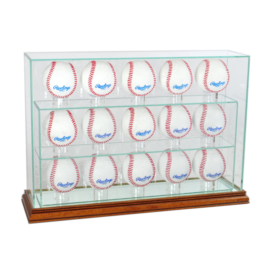 15 Baseball Upright Display Case with Walnut Moulding