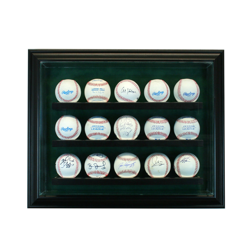 15 Baseball Cabinet Style Display Case with Black Moulding