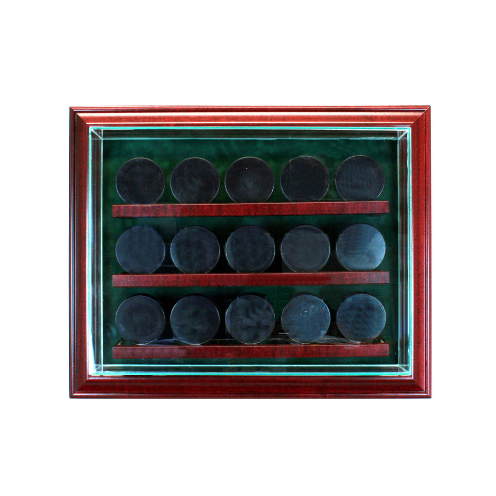 15 Hockey Puck Cabinet Style Display Case with Cherry Moulding