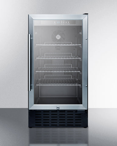 18'' Wide ADA Compliant Built-In Undercounter Glass Door Refrigerator With Stainless Steel Wrapped Cabinet, Lock, And Digital Thermostat - SCR1841BCSSADA Summit Appliance
