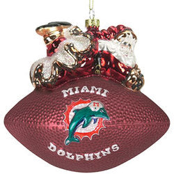 Miami Dolphins 5 1/2 Peggy Abrams Glass Football Ornament - SC Sports