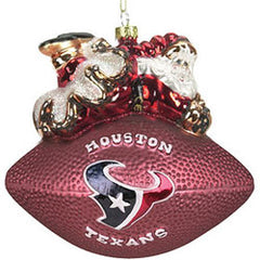 Houston Texans 5 1/2 Peggy Abrams Glass Football Ornament - SC Sports