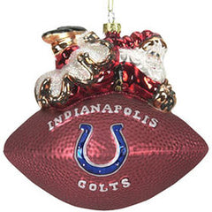 Indianapolis Colts 5 1/2 Peggy Abrams Glass Football Ornament - SC Sports