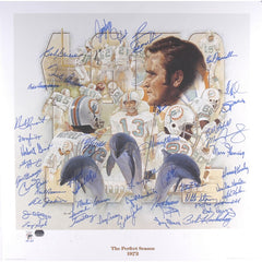 1972 Miami Dolphins Autographed Undefeated 35th Anniversary Lithograph