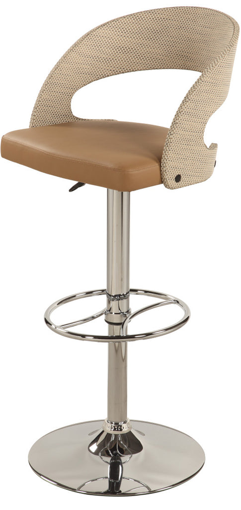 Chintaly - 1391 Series Curved Round Rattan Back Pneumatic Stool Chrome/ Khaki Rattan