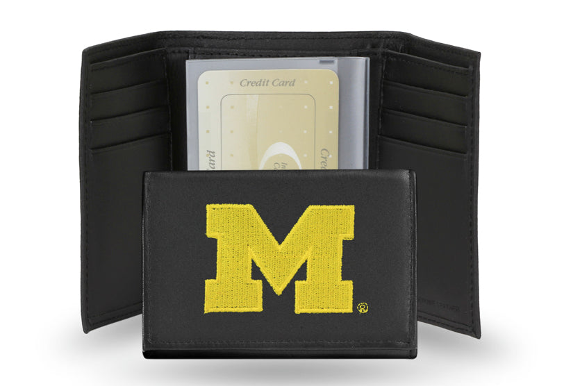 Michigan Wolverines Wallet Trifold Leather Embroidered - Rico Industries