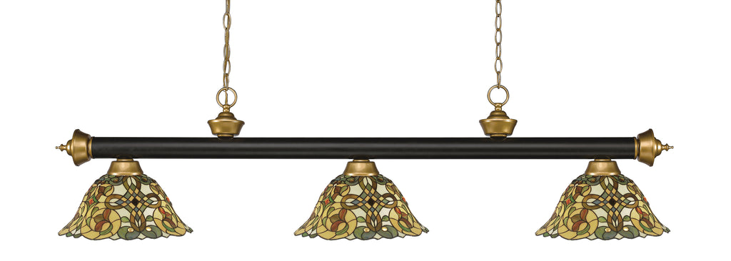 Z-Lite 200-3BRZ+SG-R14A Riviera 3 Light Billiard Light with Bronze + Satin Gold Steel Frame