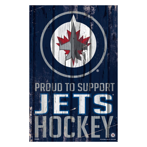Winnipeg Jets Sign 11x17 Wood Proud to Support Design - Wincraft, Inc.