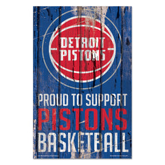 Detroit Pistons Sign 11x17 Wood Proud to Support Design - Wincraft, Inc.