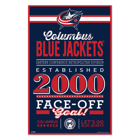 Columbus Blue Jackets Sign 11x17 Wood Established Design - Wincraft, Inc.