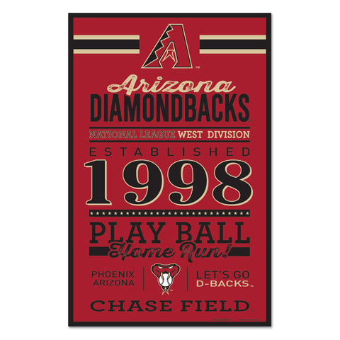 Arizona Diamondbacks Sign 11x17 Wood Established Design - Wincraft, Inc.