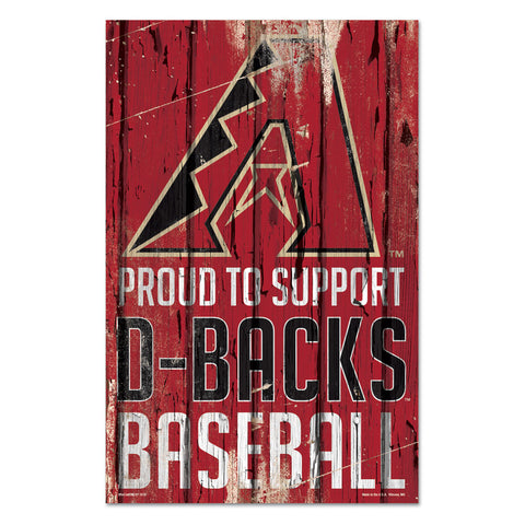 Arizona Diamondbacks Sign 11x17 Wood Proud to Support Design - Wincraft, Inc.