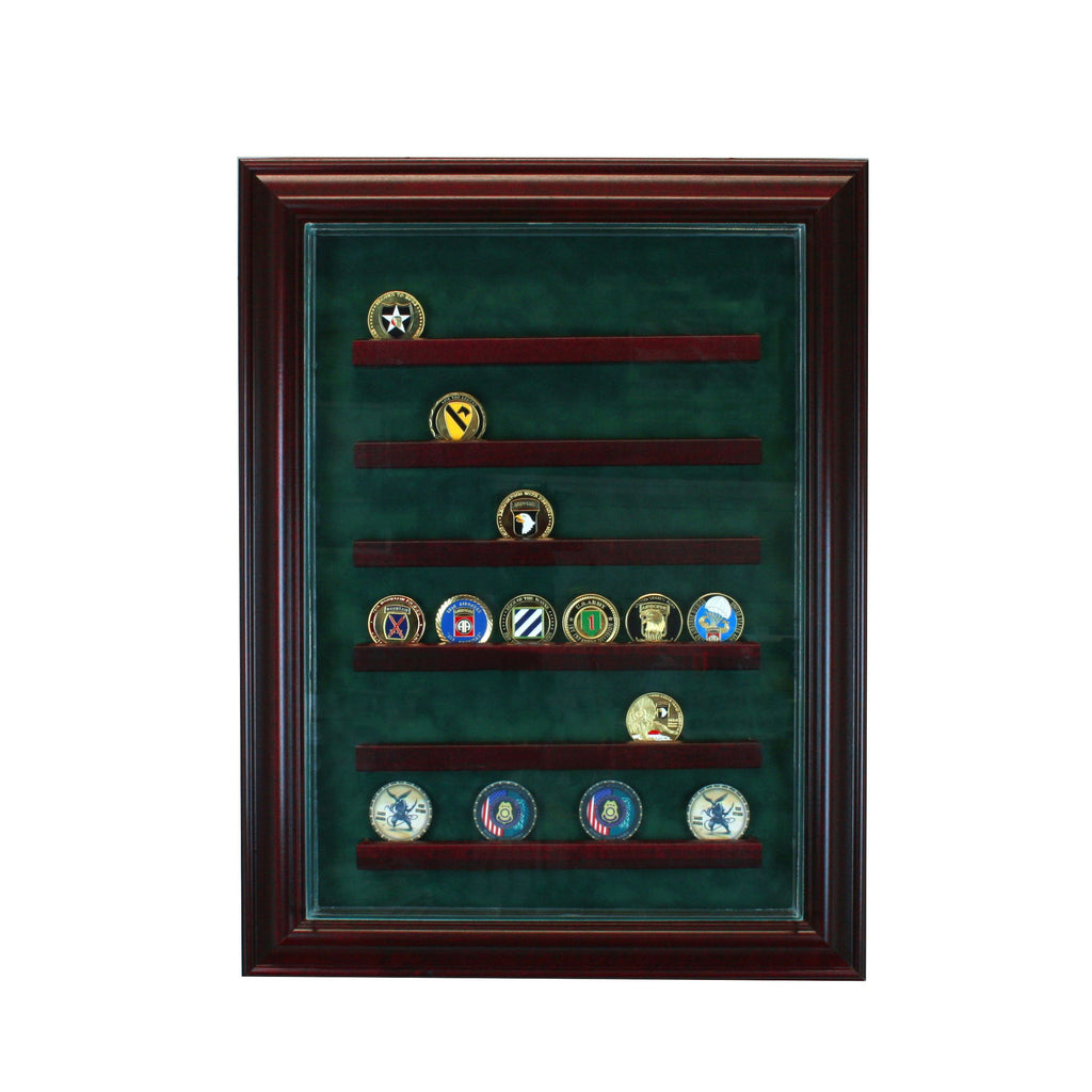 36 Coin Cabinet Style Display Case with Cherry Moulding