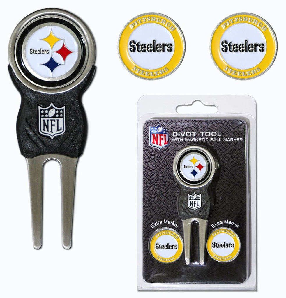 Pittsburgh Steelers Golf Divot Tool with 3 Markers - Team Golf