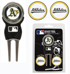 Oakland Athletics Golf Divot Tool with 3 Markers - Team Golf