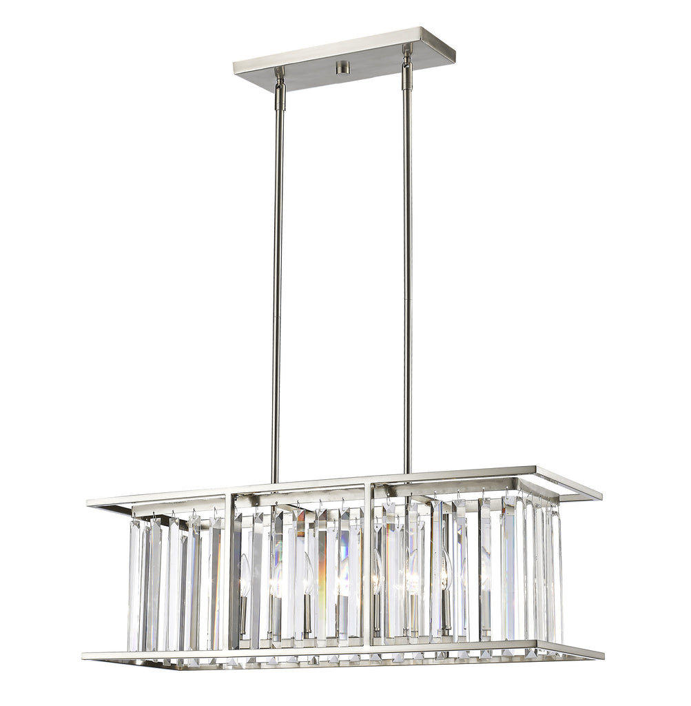 Z-Lite 439-32BN Monarch 5 Light Island/Billiard with Brushed Nickel Steel Frame
