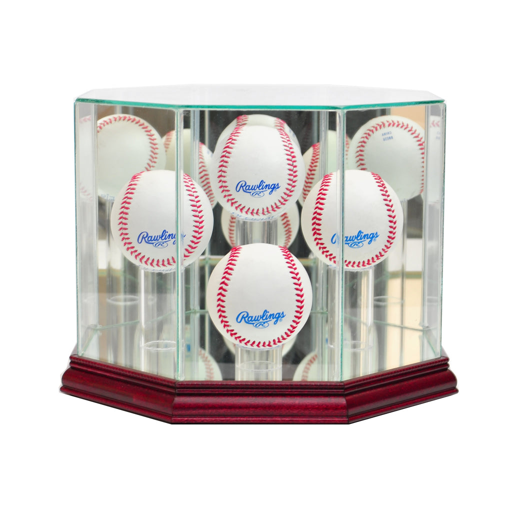 Octagon 4 Baseball Display Case with Cherry Moulding