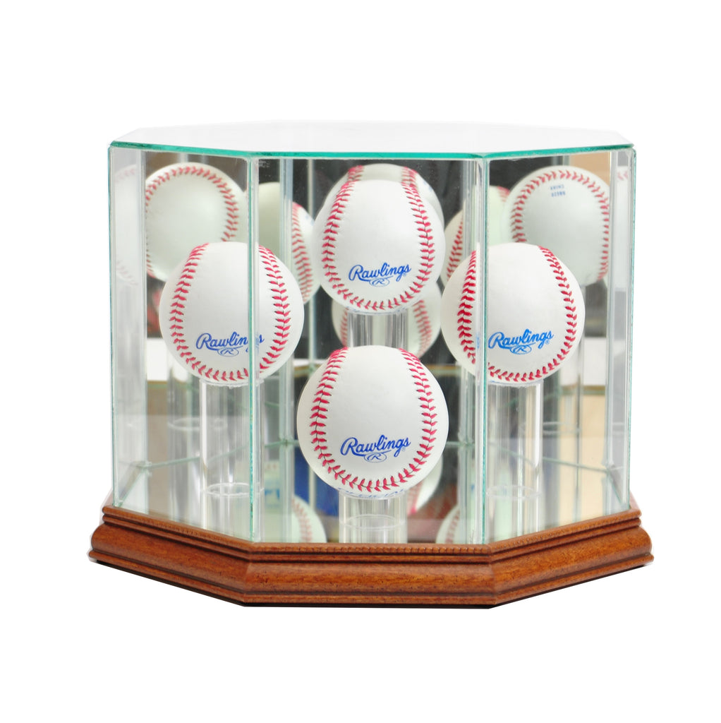 Octagon 4 Baseball Display Case with Walnut Moulding