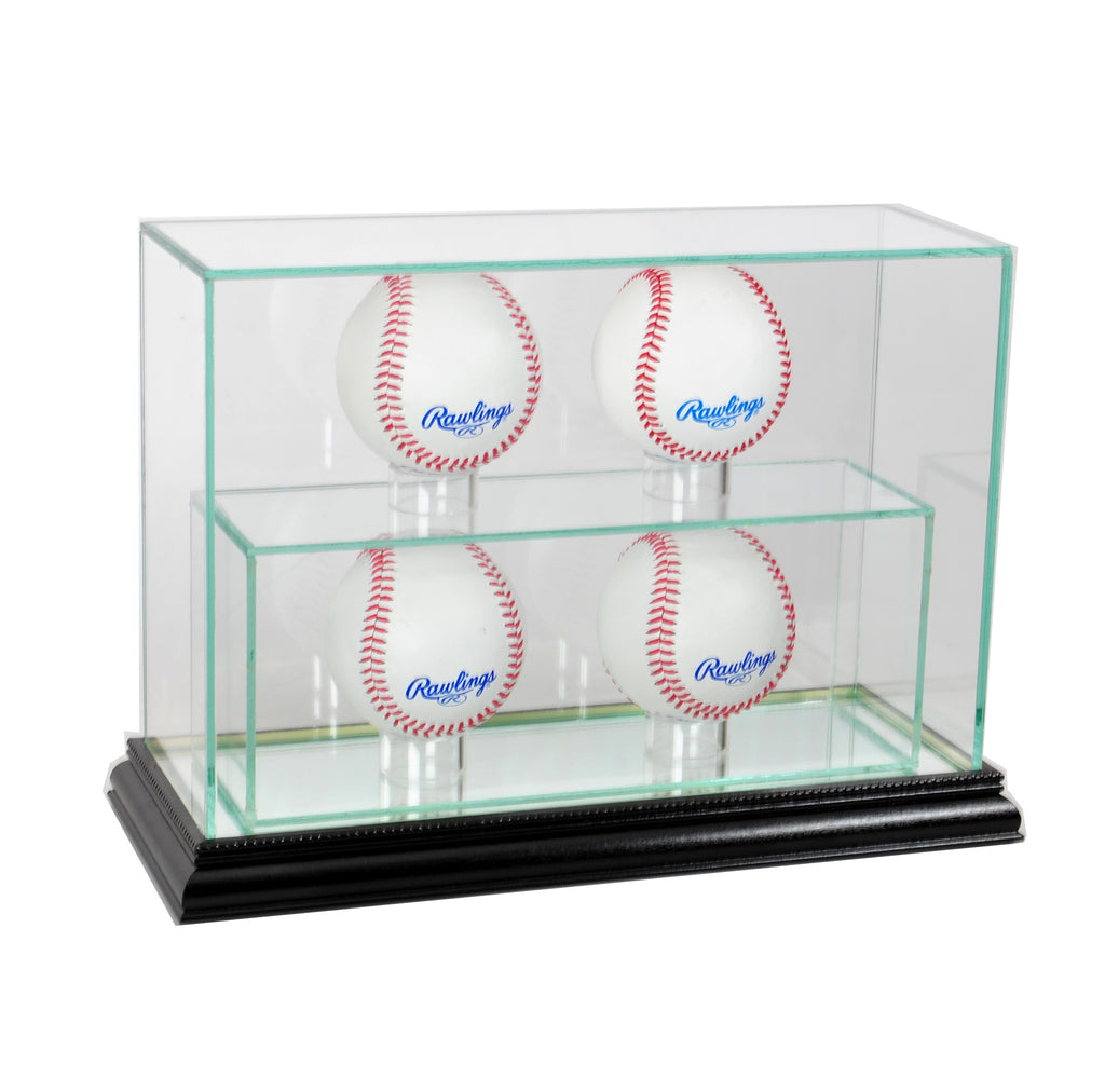 4 Upright Baseball Display Case with Black Moulding