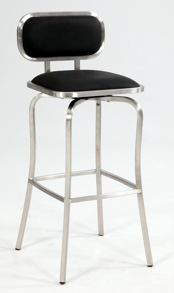 Chintaly - 1192 Series Modern Swivel Bar Stool Brushed Stainless Steel