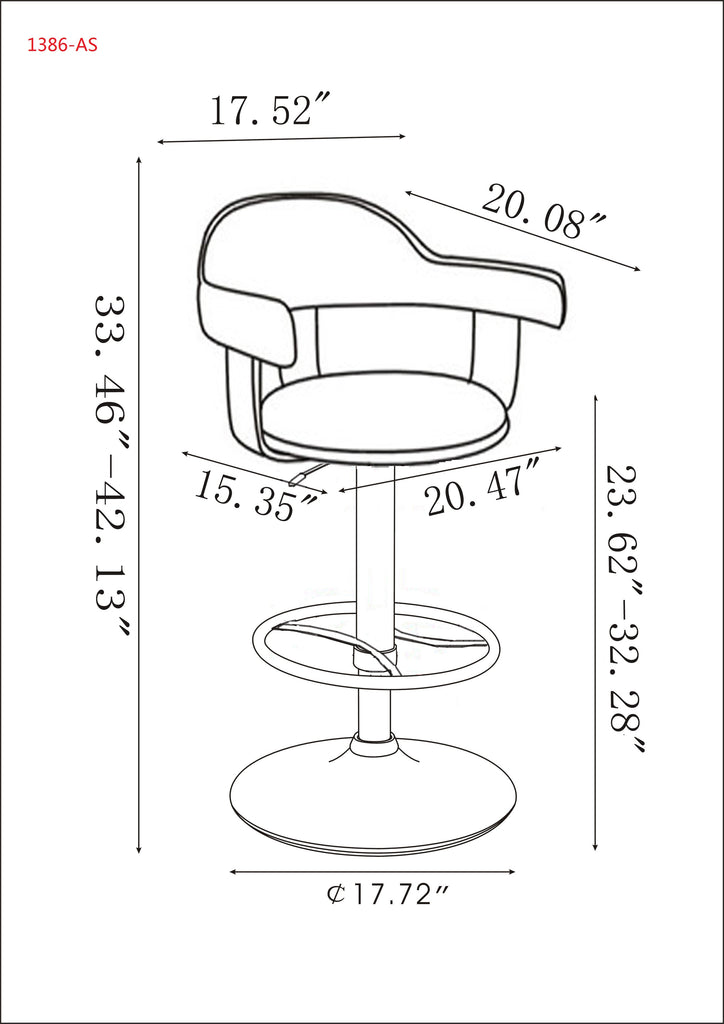 Chintaly - 1386 Series Upholstered Back Pneumatic Swivel Stool Chrome/ Walnut