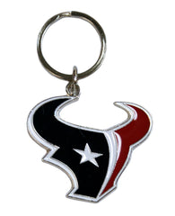 Houston Texans Chrome Logo Cut Keychain - Siskiyou