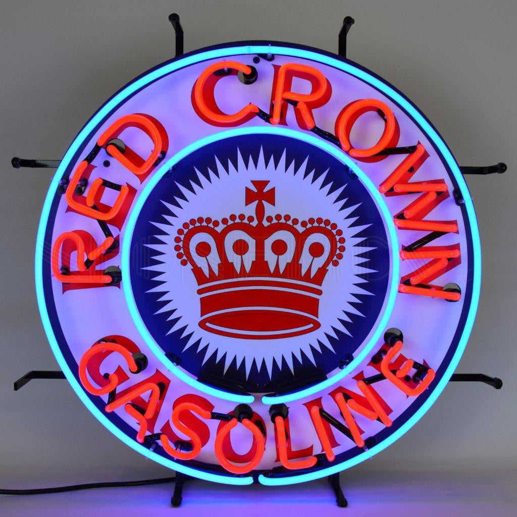 NEONETICS RED CROWN GASOLINE NEON SIGN WITH BACKING