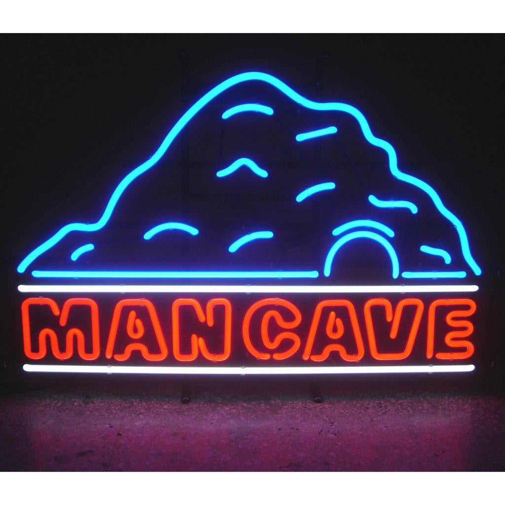 MANCAVE WITH CAVE NEON SIGN