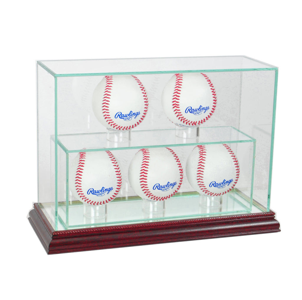 5 Upright Baseball Display Case with Cherry Moulding