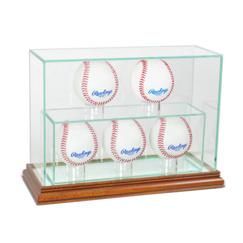 5 Upright Baseball Display Case with Walnut Moulding