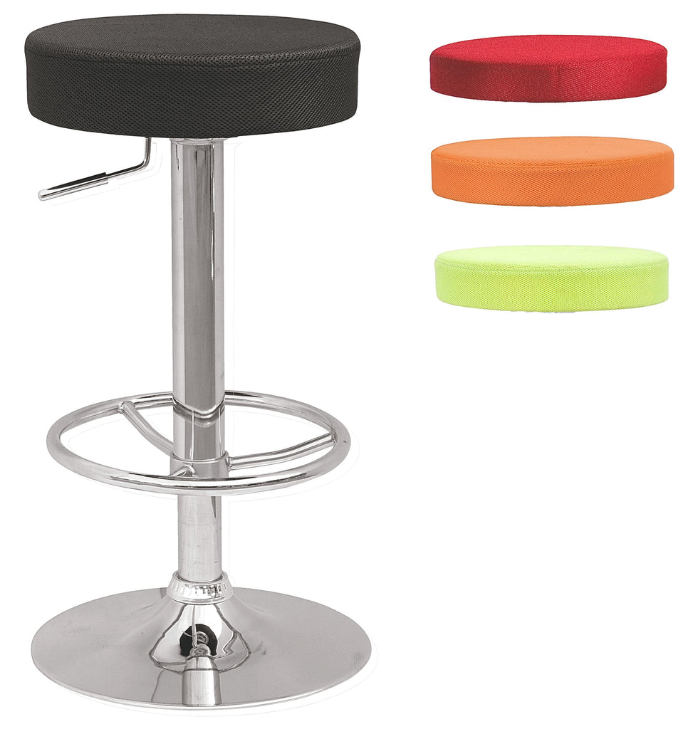 Chintaly - 0327 Series Backless Pneumatic Gas Lift Adjustable Stool W/3 Extra Slip Cover Colors Black/Raspberry/Lime/Orange Chrome