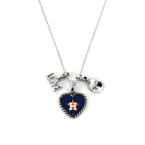 Houston Astros Necklace Charmed Sport Love Baseball - Aminco
