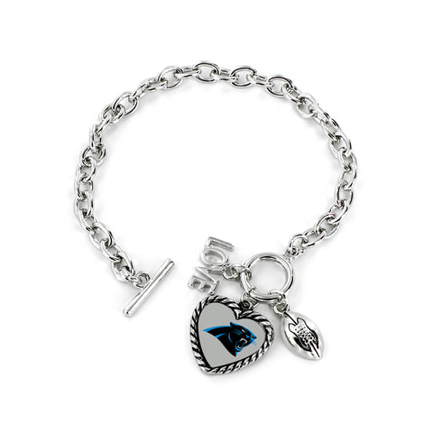 Carolina Panthers Bracelet Charmed Sport Love Football - Aminco