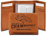 Denver Broncos Wallet Trifold Embossed Super Bowl 50 Champion - Rico Industries