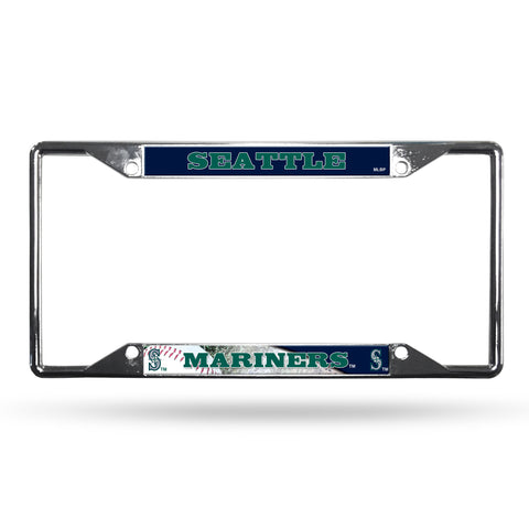 Seattle Mariners License Plate Frame Chrome EZ View - Rico Industries