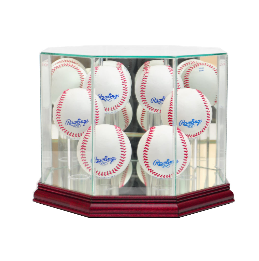 Octagon 6 Baseball Display Case with Cherry Moulding