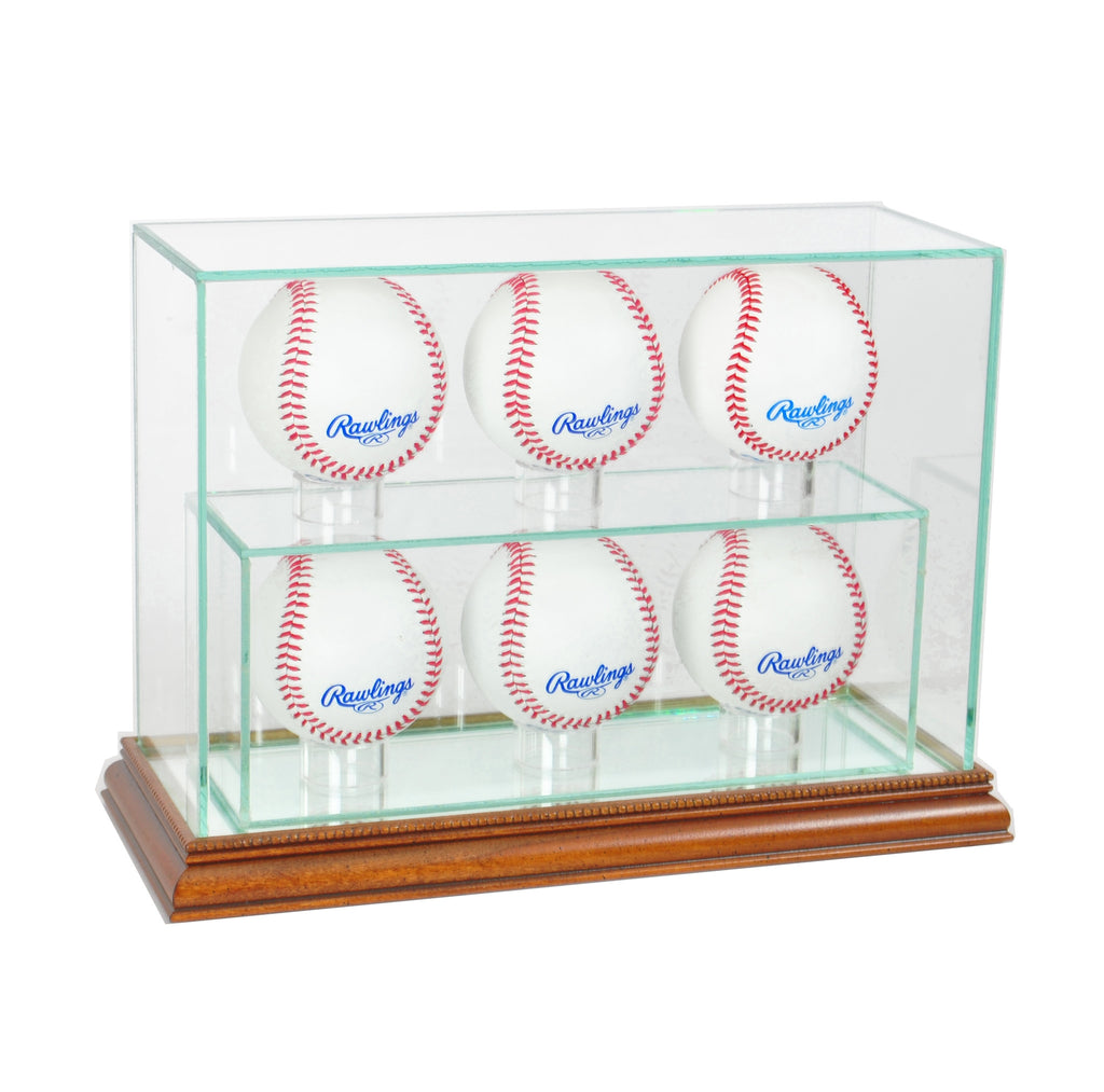 6 Upright Baseball Display Case with Walnut Moulding