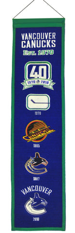 Vancouver Canucks Banner 8x32 Wool Heritage - Winning Streak Sports
