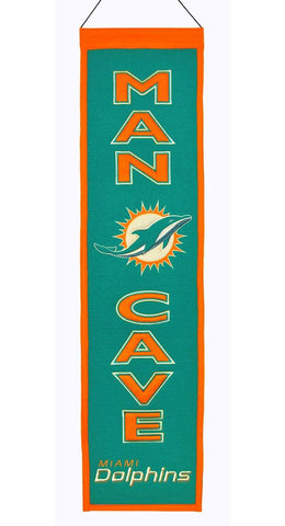Miami Dolphins Banner 8x32 Wool Man Cave - Winning Streak Sports